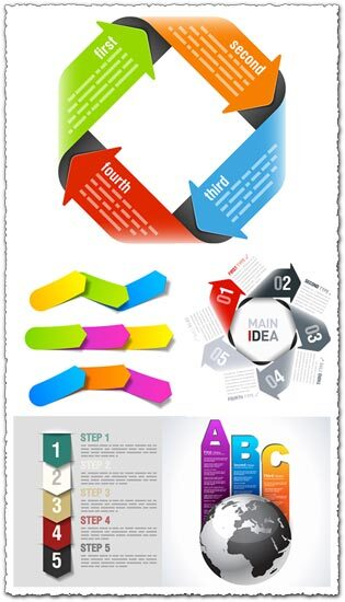 Origami arrows vector infographics shapes